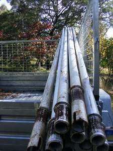 Free steel poles to be concreted into the ground as part of the new veggie garden